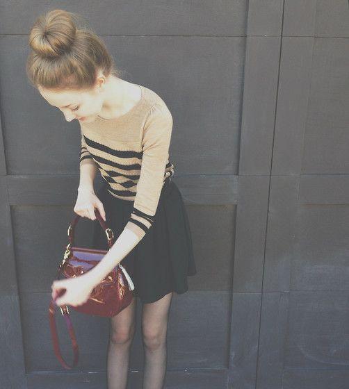 Ann Taylor Striped Sweater, Brandy Melville Black Skirt