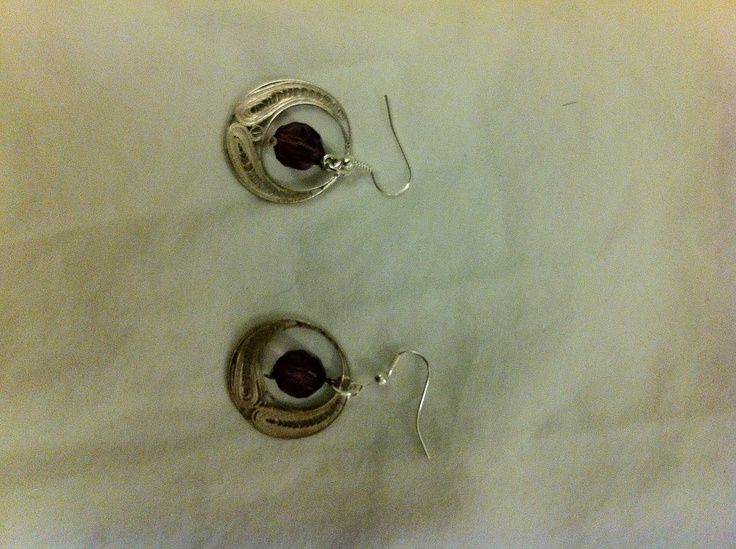 Antique sterling silver earrings with purple accents by LLSween, $30.00