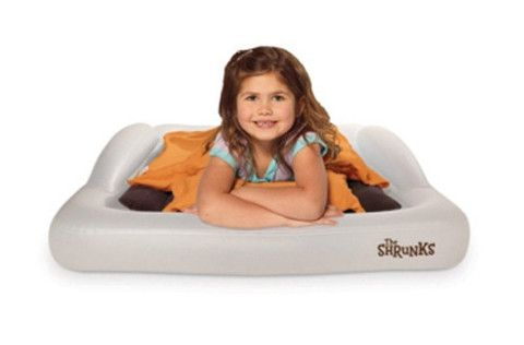 The Shrunks Indoor Tuckaire Toddler Travel Bed. Perfect for weekends away or when travelling overseas and you need a toddler bed.