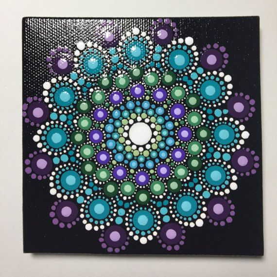 Hand Painted Mandala on Canvas Mandala Meditation Dot Art