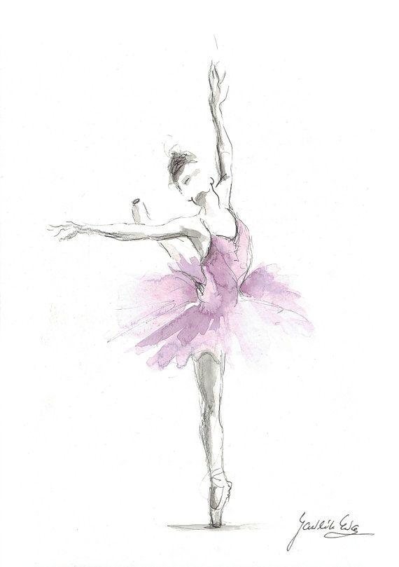 Aquarelle originale de ballerine, peinture de ballerine, ballerine Illustration à l'aquarelle, Art de danseuse de Ballet, cadeau pour elle, décor de chambre de fille