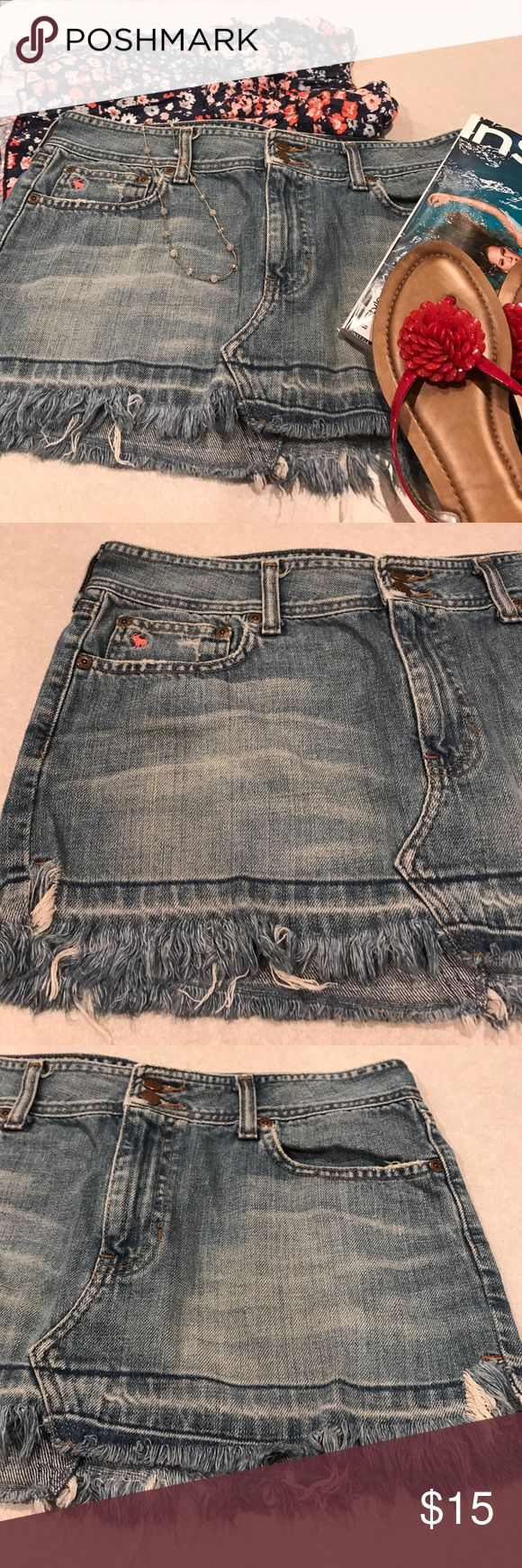 👛Abercrombie and fitch skirt👛 Very cute distressed jean skirt. In excellent condition. Super cute. Is 17 inches across the waistline and 11 inches from top to bottom. Let me know if you have any questions. Abercrombie & Fitch Skirts