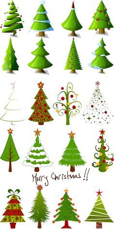 2 Sets Of 20 Vector Cartoon Christmas Tree Designs In Different Styles For Your Xmas Logo