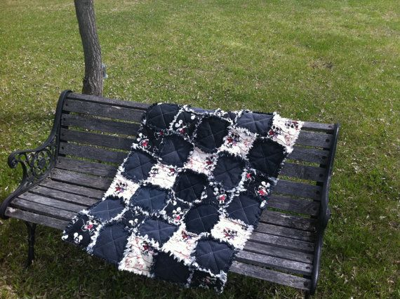 Mickey Mouse Rag Quilt on Etsy, $45.28 CAD