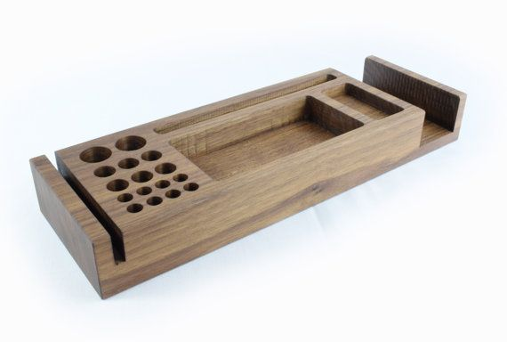 Wooden Desk Tidy, Walnut Desk Organiser, Pen Holder, Phone Stand, Desk Caddy…