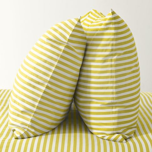 Stripe Sheet Set- White/Citron | west elm
