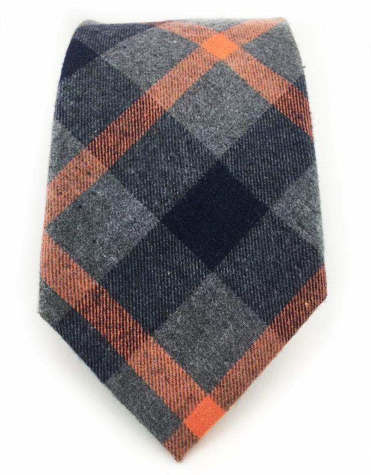 Charcoal gray orange black cotton tie black cotton