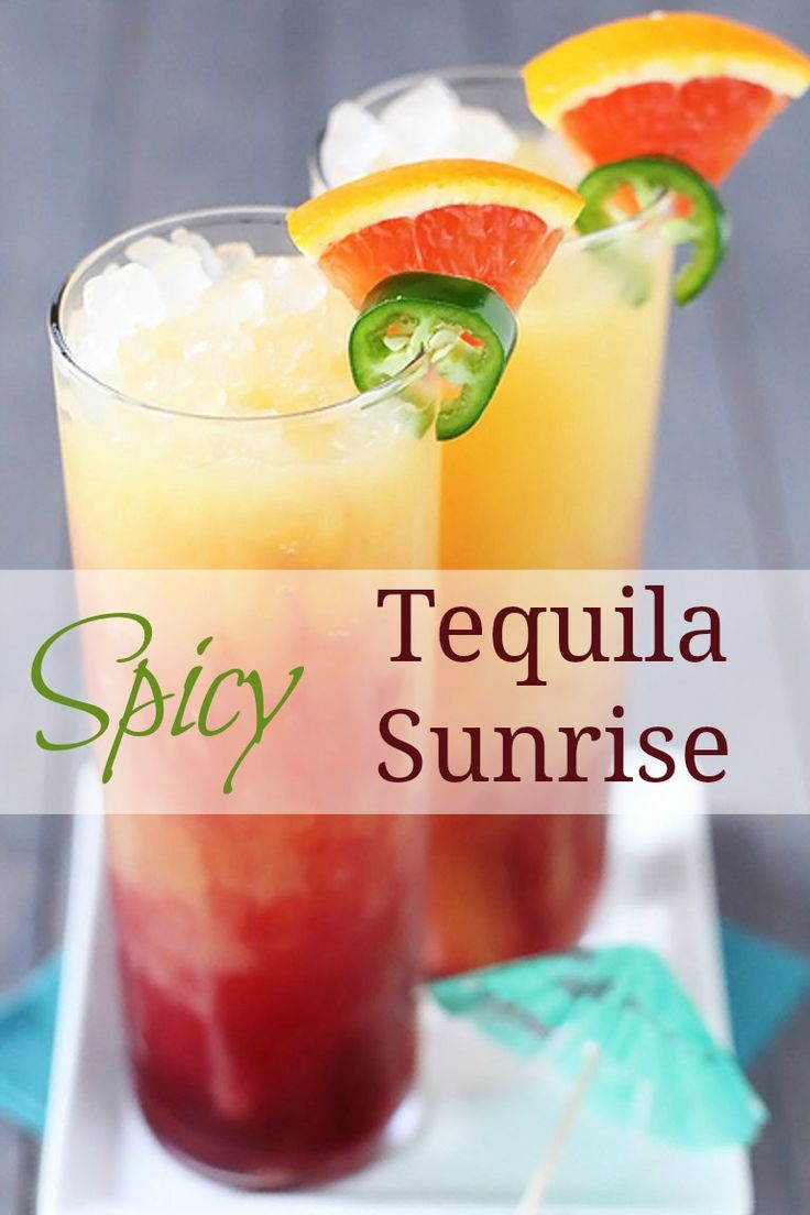 This drink recipe for a spicy tequila sunrise would be perfect to serve with dinner or on it's own!