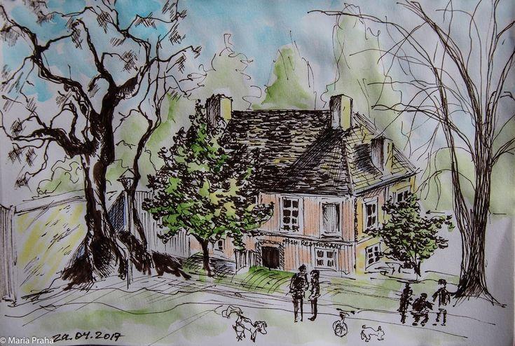В апреле каждую субботу выходила рисовать на Кампе. Когда было холодно, пряталась в кафе, благодаря чему открыла для себя новое место, откуда просто не хочется…