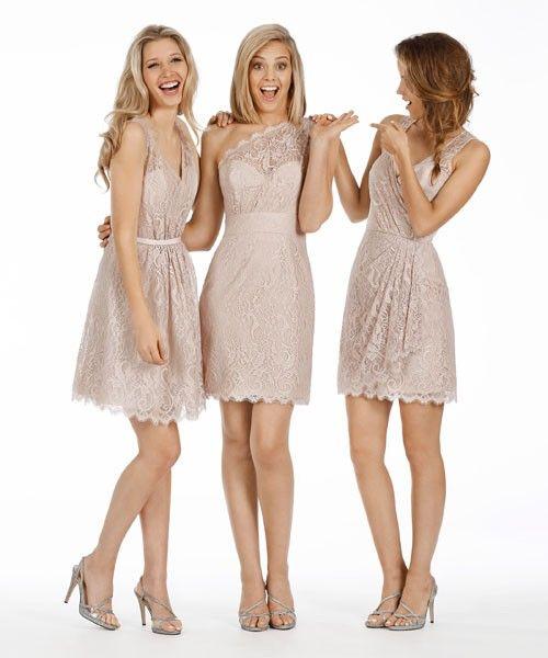 Coral Lace V Neck Knee Length Sheath Column Bridesmaid Dress B1jl0112