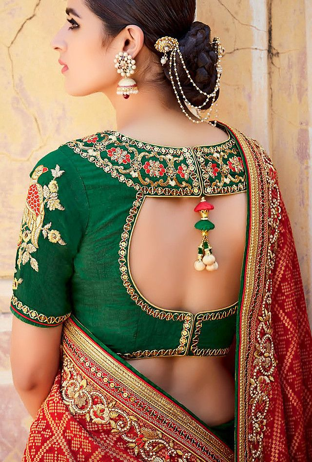 Red And Green Designer Party Wear Saree - Desi Royale  - 4