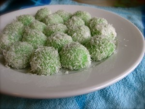 Klepon or kelepon is a kind of traditional Indonesian food that is included in the snack market. This food is made ​​from glutinous rice flour shaped like small balls and filled with brown sugar and boil in boiling water. Klepon that have been cooked and then rolled on top of grated coconut to stick.