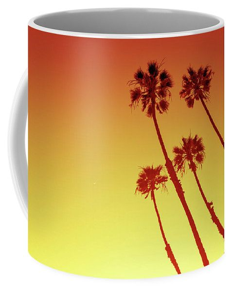 Coffee Mug featuring the photograph California Palm Trees In Orange by Evgeniya Lystsova. California Palm Trees view in Sunset Cliffs, San Diego, USA. Coffee time, Kitchen, Gift, Home and Office products. Our ceramic coffee mugs are available in two sizes: 11 oz. and 15 oz. Each mug is dishwasher and microwave safe. SHIPS WITHIN 1 -2 business days