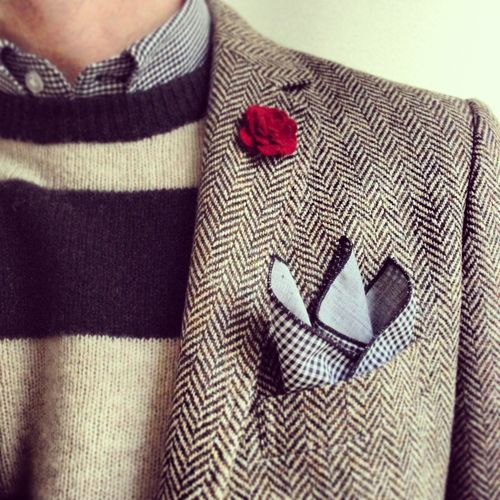 Pocket Square via blazertags, I love the combination pattern, color, and texture. Mens Fashion