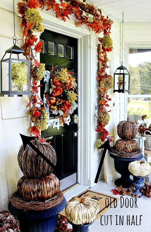 budget fall decorating ideas for the front door front porches farms and front doors. Black Bedroom Furniture Sets. Home Design Ideas