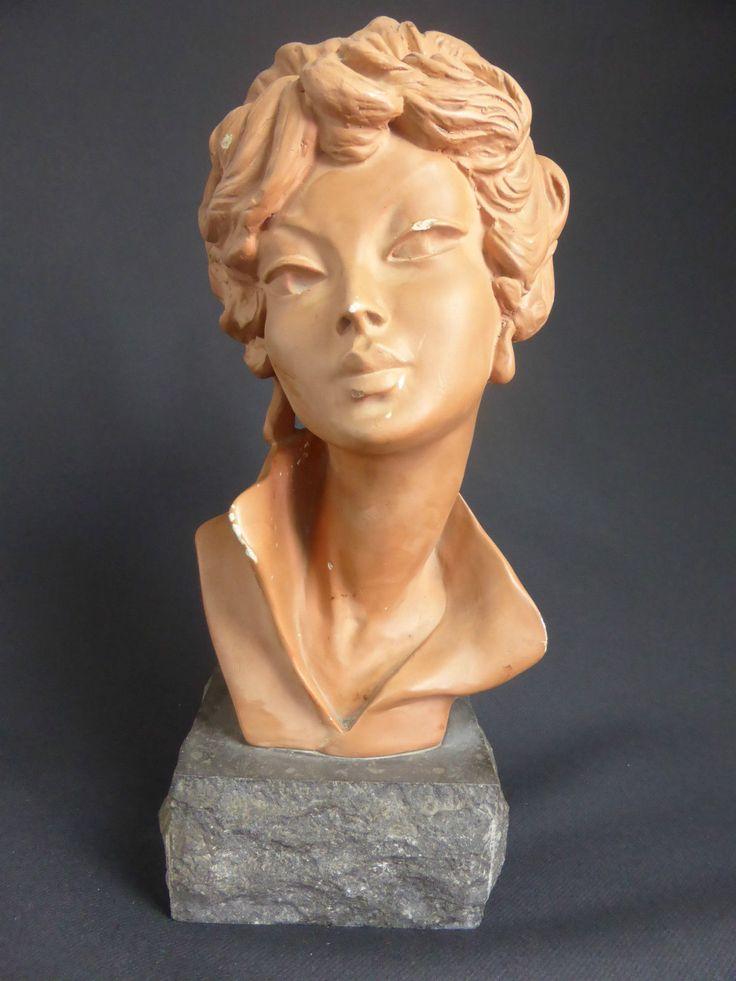 magnifique buste de femme en platre patine sur socle en pierre 1950 1960 melani ebay. Black Bedroom Furniture Sets. Home Design Ideas
