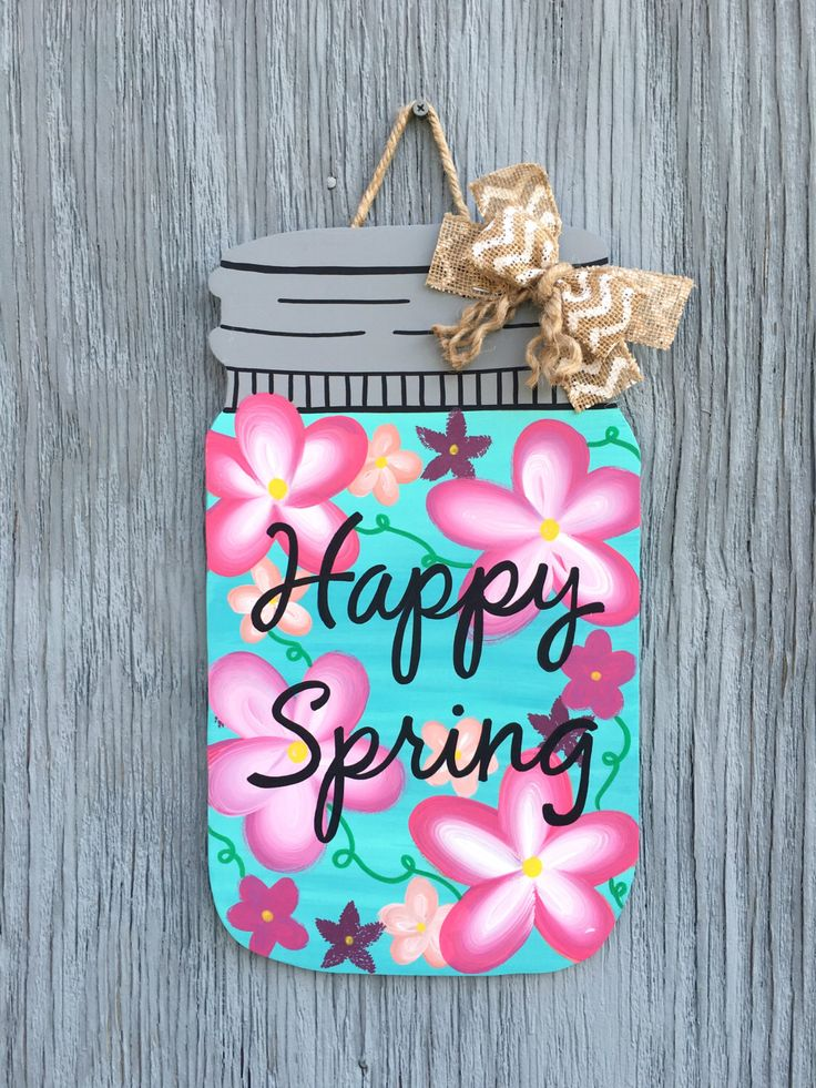 Mason Jar Door Hanger Wooden Summer