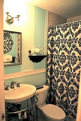 I would like to incorporate the design from this shower curtain somewhere in my bathroom (on the wall--framed? stenciled?)...and do it in either black or a deep chocolate to complement the oyster color on the main bath walls..AFTER I paint them, that is..