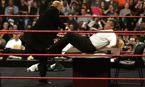 Donald Trump in 'action' against Vince McMahon at WrestleMania in 2007.