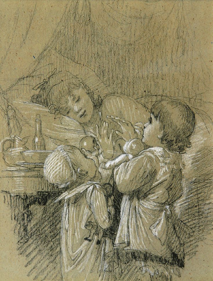 Medium value background, black line drawing and shadow value with white highlights...  Timoléon Marie Lobrichon. French (1831-1914)