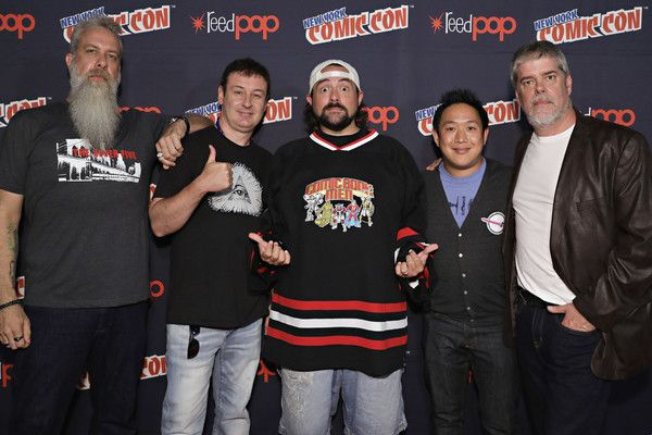 Bryan Johnson, Walter Flanagan, Kevin Smith, Ming Chen and Mike Zapcic pose for a photo at the Comic Book Men Panel during the 2017 New York Comic Con at Hammerstein Ballroom on October 5, 2017 in New York City.