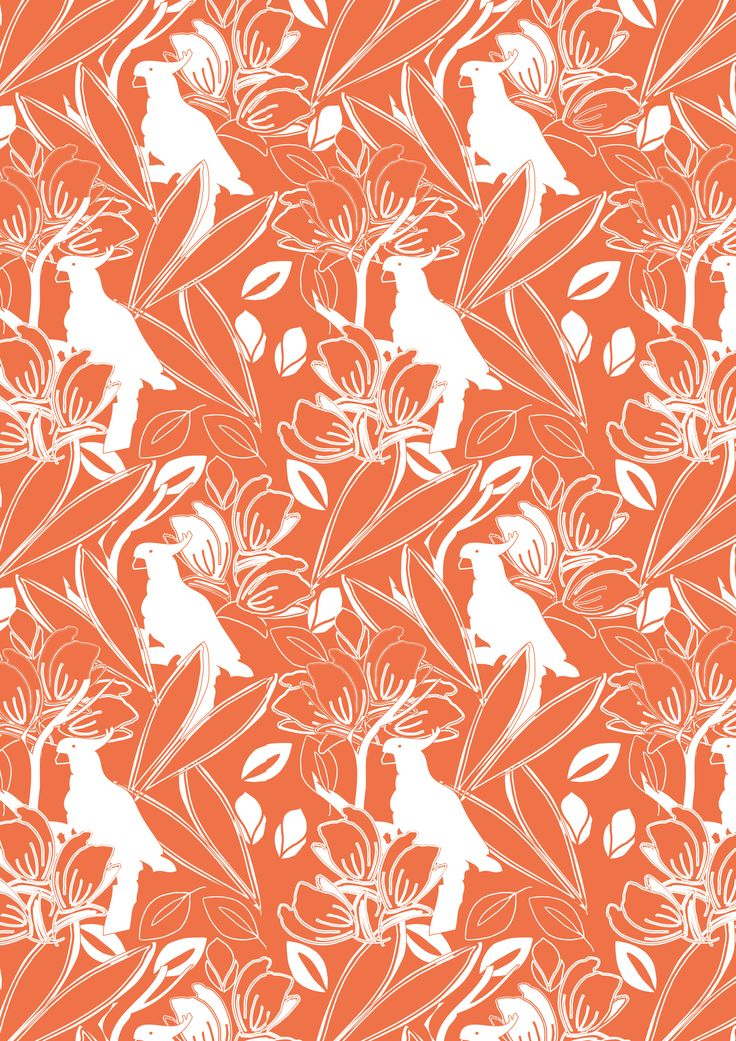 'Beach Bird' in Sunrise Orange #3beaches #sunbrella #coastcollection #faderesistant #waterresistant #stainresistant #luxury #woven #outdoorfabric #boatingfabric #indooroutdoor #australiandesigners #textiledesign #interiordesign #beachstyle #coastalliving #beachbird #cockatoo #tropical #sunrise #orange #orangeandwhite