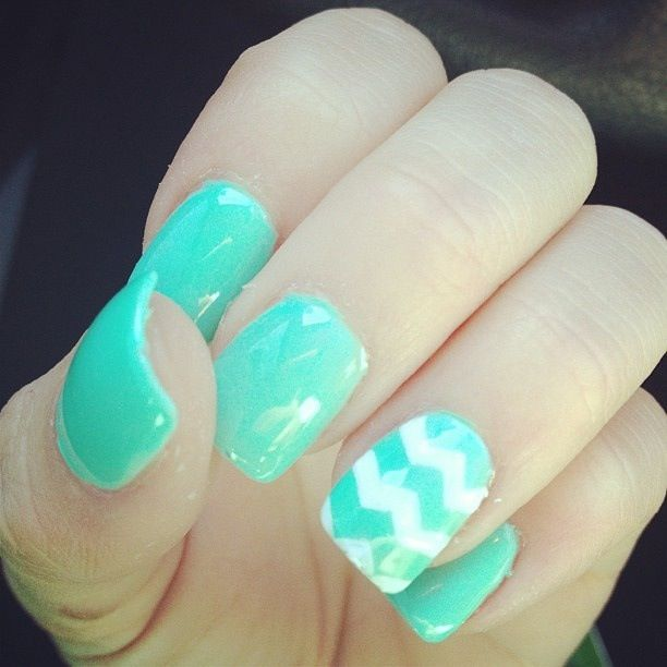 mint + reverse french + gold glitter accent