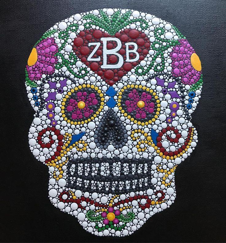 ZBB Welcome Home Tour 2017 #dayofthedead • • • • • #valsmandalas #candyskull #dotart #zacbrownband #zbb #band #welcomehometour2017 #zamily #inspiration #countrymusic #music