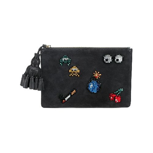 Charcoal grey suede, leather and crystal all over stickers 'Georgiana' clutch from Anya Hindmarch featuring a top zip fastening and a hanging tassel.