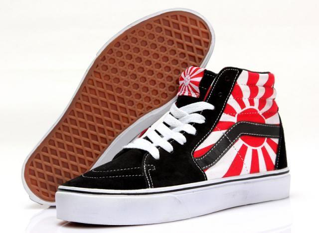 c3f6f13deb81 Vans Flag of Japan SK8-Hi Classics Black Red White Womens Shoes  Vans
