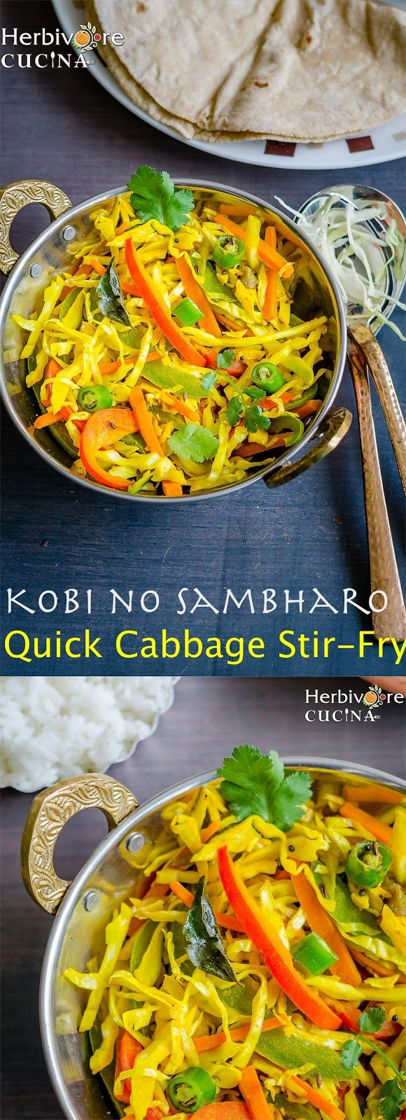 Herbivore Cucina: Kobi no Sambharo | Quick Cabbage Stir-Fry...Simple shredded cabbage is transformed into a fragrant side dish with the addition of cilantro, lime, and an array of spices including turmeric and cumin.  #CabbageStirFry #GathiyaJalebi #GobhiRecipes #GobiVegetable #GujaratiBreakfast #GujaratiCuisine #IndianCooking #KobiNoSambharo #QuickStirFries #VeganMainDishes