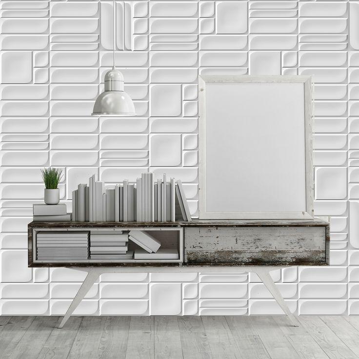 Elegant Ambient Ceramic Relief modular in colours white Ambiente con Relieve ceramico modular en colore blanco