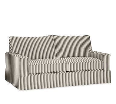 PB Comfort Square Arm Slipcovered Sofa Box Edge Down Blend Wrapped Cushions,  Sateen Ticking Stripe Ebony