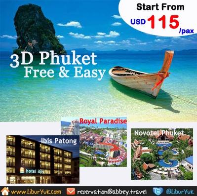 Jalan-jalan ke Phuket gini gak usah pakai repot dan mahal.Kini kam sediakan paket 3D Phuket Free & Easy.Ayo booking sekarang juga dan dapatkan harga spesial.  Dapatkan Special Paket tersebut dari LiburYuk.com http://liburyuk.com/listpackage/3D+PHUKET+FREE+%26+EASY atau kontak team reservasi kami di reservation@Abbey.Travel