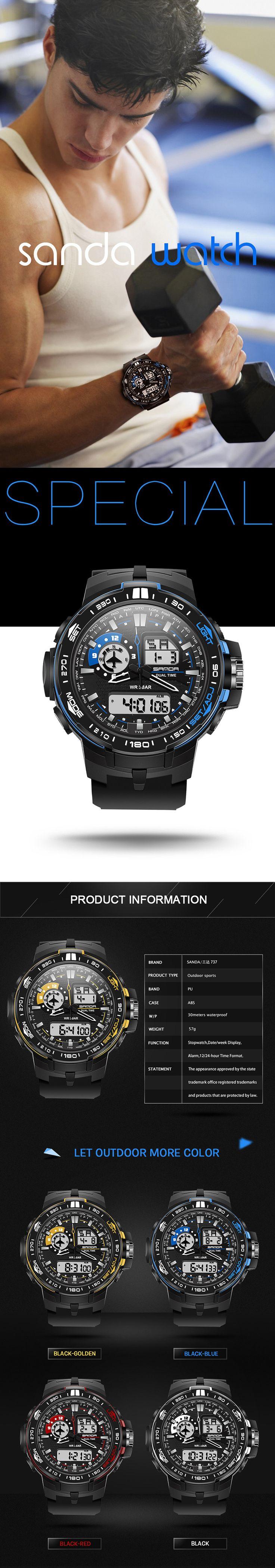 SANDA 737 Fashion Men Dual Display Watch PU Resin Strap Multifunction Sport Watch