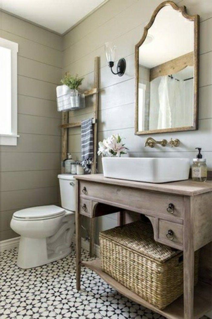 Waschtisch Aus Holz Mit Quadratischer Waschschale Badezimmer Landhaus Bauernhaus Badezimmer Badezimmer Dekor