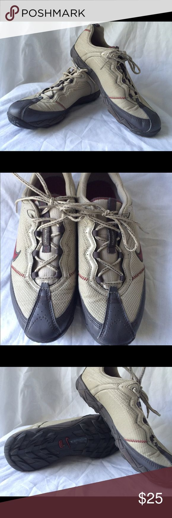 Nike a Air Winterspike All Trac NIKE AIR WINTERSPIKE IN EXCELLENT CONDITION MEN'S SIZE 9 ALL TRAC, WALKING AND SPORTS TRAINING TAN WITH A BURGUNDY/BRICK COLOR ACCENT EXCELLENT CONDITION, PLEASE SEE PICS....INSIDE LEFT SHOE HAS TINY SLIT. ONLY WORN A COUPLE OF TIMES Nike Shoes Sneakers
