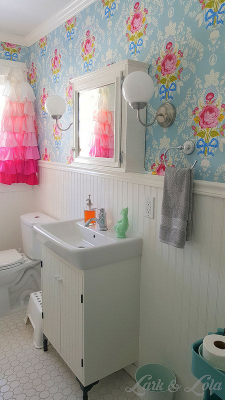 Our Bathroom Remodel - Lark & Lola - Pip Studio - Wallpaper - Shabby Chic - Beadboard - Ruffle Curtains