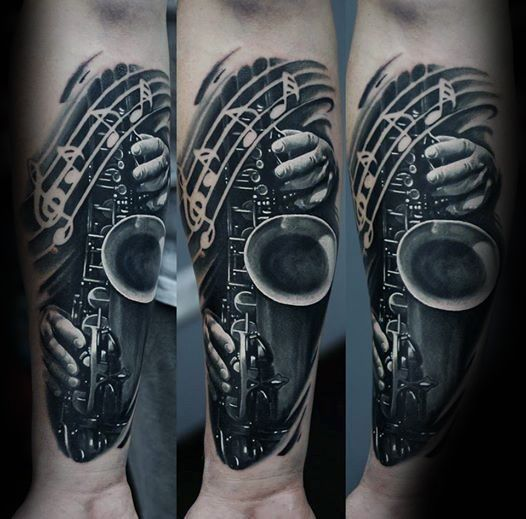 3d Realistic Saxophone Music Notes Forearm Sleeve Tattoo