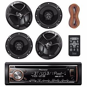 Single-DIN-Bluetooth-In-Dash-CD-AM-FM-Receiver-MOSFET-Amp-4-Speakers-Wire-RC