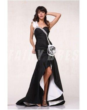 Robe de bal haut-bas en taffetas noir à seule épaule ornée de strass avec fleur