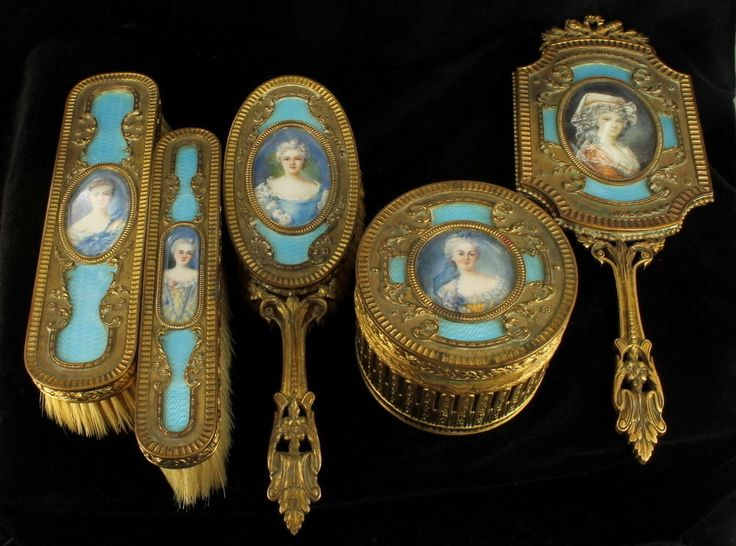 Exquisite Antique Victorian French Dore Bronze Teal blue Guilloche Enamel 5-piece dresser vanity set, c1880-1890. Heavy bronze ormolu cases.