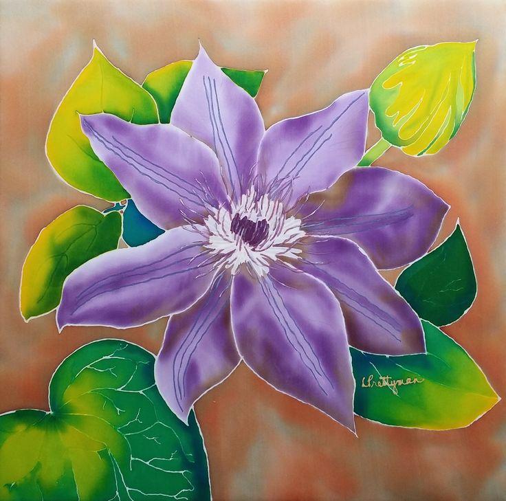 """Purple Clematis"" silk wall hanging"