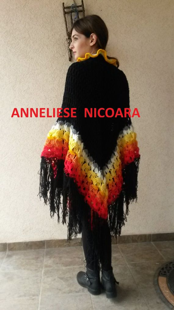 Crochet  Shawl/Wool Knitted Wrap/ Colorful  by AnnesMagicCrochet