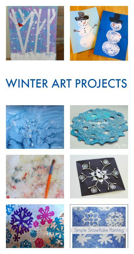 Winter art activities for children, snow theme art projects, winter crafts for children, snow crafts for kids