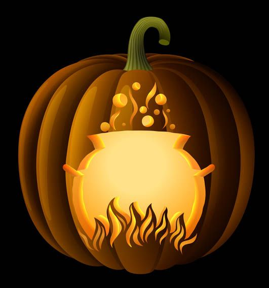 Halloween Witch With Cauldron Stencil   Free Pumpkin Carving Stencil/Pattern Part 97