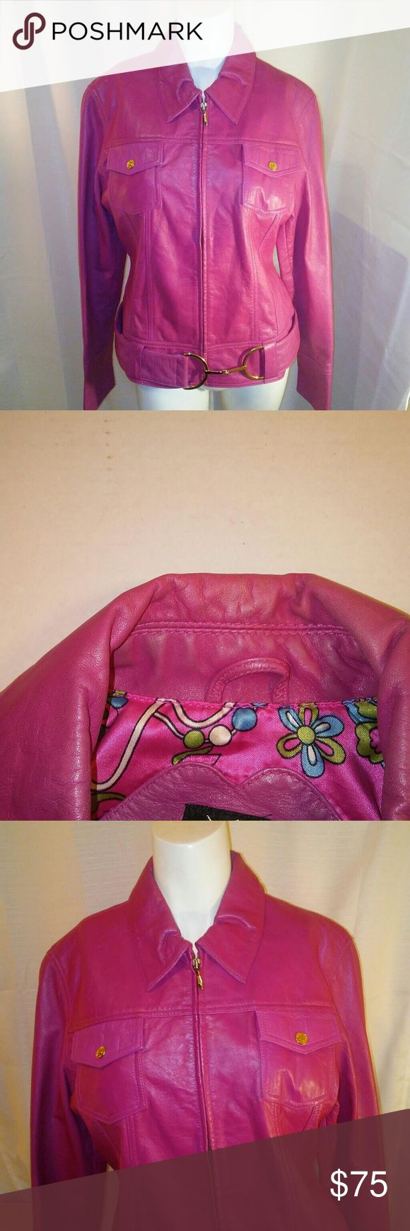 Wilson Leather Maxima Women's Hot Pink Jacket Med pre-owned excellent condition light leather wear at neckline see photos extra buttons in pocket 20 pit to pit 25 sleeve 16 shoulder to shoulder 22 long 36 hemline (waist) Wilsons Leather Jackets & Coats