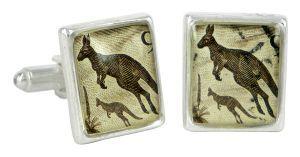 Kangaroo vintage stamp and silver plate cufflinks - $110 http://www.lordcoconut.com/shop/kangaroo-stamp-cufflinks/