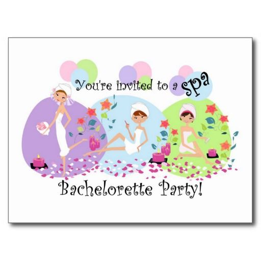 Save On Cute Bachelorette Party Spa Postcard Invitations