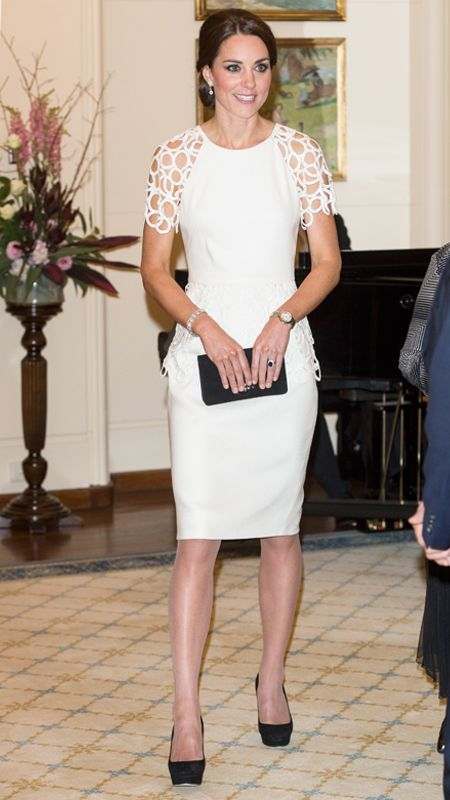 Kate Middleton's Most Memorable Outfits Ever! - April 24, 2014  The Duchess of Cambridge marked her final night in Australia in a white dress by American designer Lela Rose. The cocktail frock featured delicate lattice work on the sleeves and around the waist, and she styled it with simple black suede pumps and a romantic chignon undo.